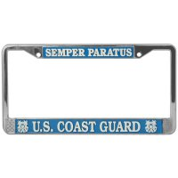 U.S. Coast Guard Semper Paratus Chrome License Plate Frame