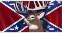 Buck on Rebel Flag License Plate