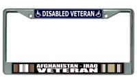 Afghanistan Iraq Disabled Veteran Chrome License Plate Frame