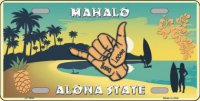 Hang Loose Hawaii Pineapple Metal License Plate