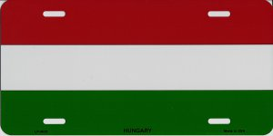 Hungary Flag Metal License Plate