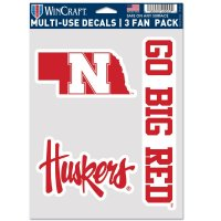 Nebraska Cornhuskers 3 Fan Pack Decals