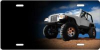 Jeep on Rock Airbrush License Plate