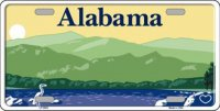 Alabama State Background Metal License Plate