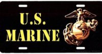 U.S. Marine On Black Photo License Plate