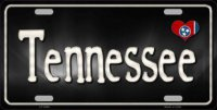 Tennessee Flag Script Metal License Plate