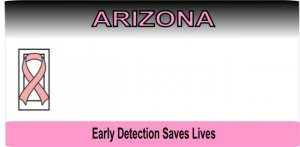 Arizona State Look a Like with Pink Ribbon License Plate