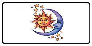 Sun And Moon On White Photo License Plate