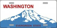 Washington State Background Metal License Plate