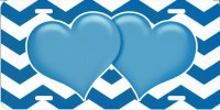 Blue Hearts On Chevron Metal License Plate