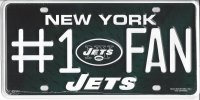 New York Jets #1 Fan Metal License Plate
