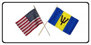 United States Barbados Crossed Flags Photo License Plate
