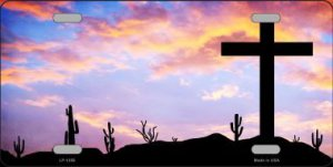 Cross At Sunrise Metal License Plate
