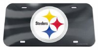 Pittsburgh Steelers Black Crystal Mirror Laser License Plate