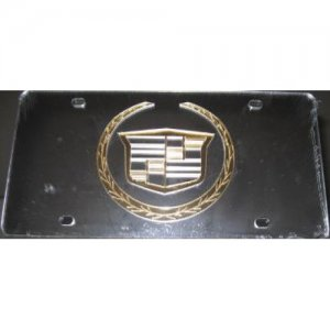Cadillac Gold Logo On Silver Laser Cut License Plate