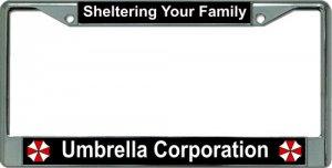 UMBRELLA Corporation Your Family Chrome License Plate Frame