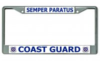 Coast Guard Semper Paratus Chrome License Plate Frame