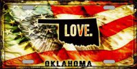 Oklahoma Love Metal License Plate