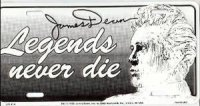James Dean Legends Never Die License Plate