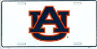 Auburn Tigers White License Plate
