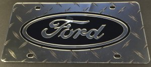 Ford Silver Diamond Plate Laser License Plate