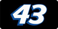 Nascar Racing #43 White Photo License Plate