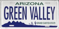Arizona Green Valley Metal License Plate