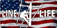 Line Life On American Flag Photo License Plate