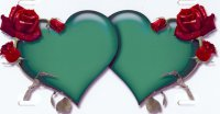 Double Hearts with Roses Green on White Airbrush Plate