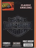 Harley-Davidson Logo - Chrome and Black Embossed Decal