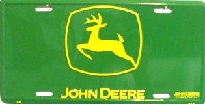JOHN DEERE Yellow Logo On Green Metal License Plate