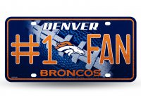 Denver Broncos #1 Fan Glitter License Plate