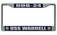 USS Waddell DDG-24 Chrome License Plate Frame