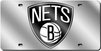 Brooklyn Nets Silver Laser License Plate