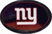 New York Giants Chrome Die Cut Oval Decal