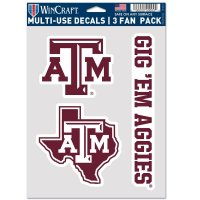 Texas A&M Aggies 3 Fan Pack Decals