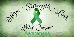 Liver Cancer Ribbon Metal License Plate