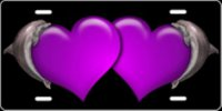 Dolphin Hearts (Purple) Airbrush License Plate