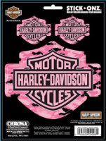 Harley-Davidson Pink Camo Stick-Onz Decal 3pc