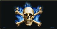 Blue Flame Skull and Crossbones Metal License Plate