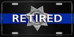 Thin Blue Line Retired Police Metal License Plate