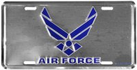 Air Force Wing Logo on Chrome License Plate