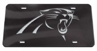 Carolina Panthers Black Crystal Mirror Laser License Plate
