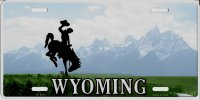 Wyoming Cowboy Metal License Plate