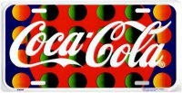 Coca Cola Polka Dots Metal License Plate