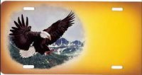 Eagle on Yellow/Gold Offset Airbrush License Plate
