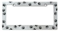 Animal Paw Print Chrome Metal License Plate Frame