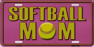 SOFTBALL Mom Pink Metal License Plate