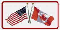 USA / Canada Crossed Flags Photo License Plate