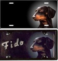 Black Dachshund Airbrush License Plate